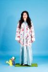 Aywa London abaya, accessorised with colourful Kniginia statement earrings by Jolita Jewellery