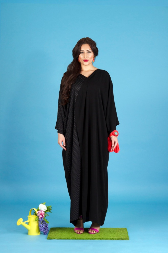 Aywa London abaya, accessorised with colourful Madrid statement earrings and braided cuff - all by Jolita Jewellery