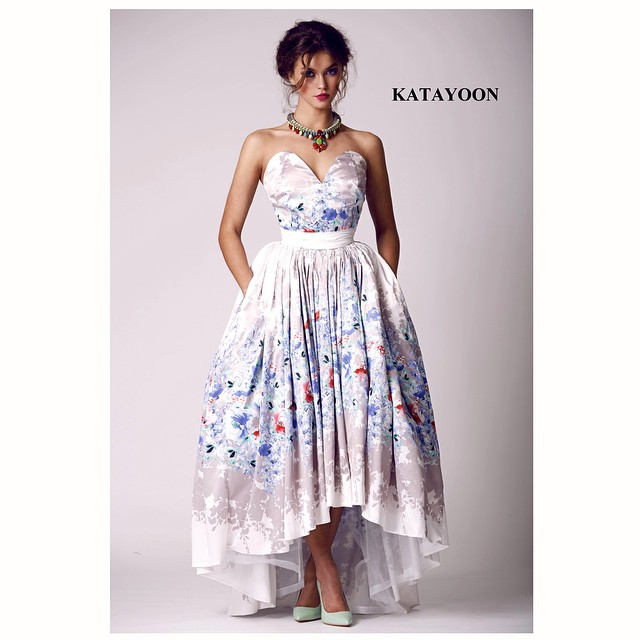 Katayoon SS15 dress, accessorised with Jolita Jewellery's Madrid Luxe statement necklace, created with hand-dyed silk braid and hand-painted dipped in gold crystals