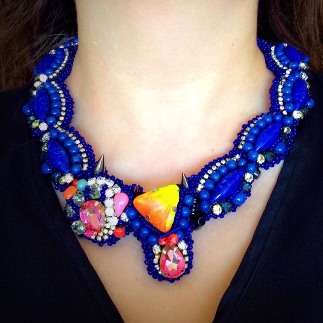 Colourful Pasadena statement necklace by Jolita Jewellery created with cobalt blue stones and pink crystals, handmade using couture embroidery technique