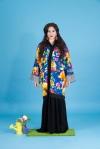 Aywa London abaya, accessorised with colourful Sea Urchin statement earrings by Jolita Jewellery