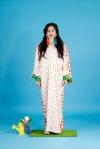 Aywa London abaya, accessorised with colourful Skull and Tassel statement earrings by Jolita Jewellery