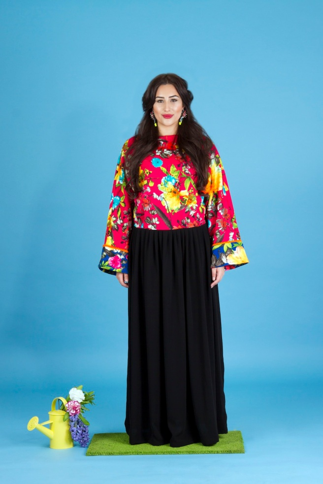 Aywa London abaya, accessorised with colourful Tecno statement earrings by Jolita Jewellery