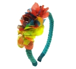 Jolita Jewellery's headband, hand-made with hand-dyed turquoise silk braid and neon hand-painted silk flowers.
