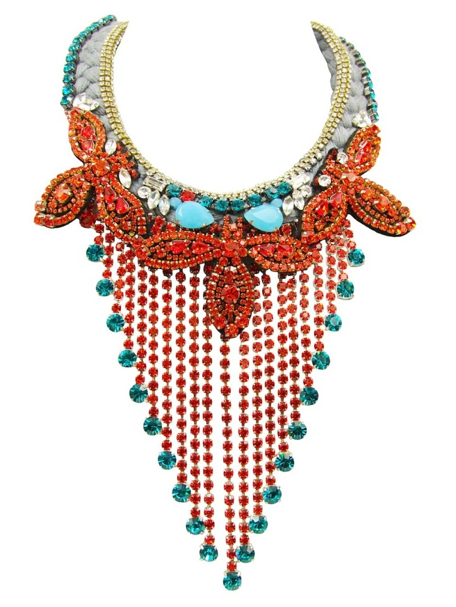 Luxury Tobago Hyacinth statement necklace by Jolita Jewellery, created with hand-dyed grey silk braid. Adorned with hyacinth crystal bib and hand-beaded bugs.