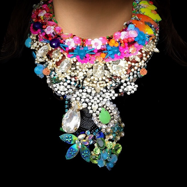 Colourful statement necklaces by Jolita Jewellery, created with hand-dyed silk, crystals, beads, flowers and other components.