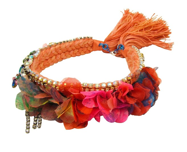 Mademoiselle peach statement necklace by Jolita Jewellery, created with hand-dyed silk braid, neon hand-painted silk flowers and an array of crystals