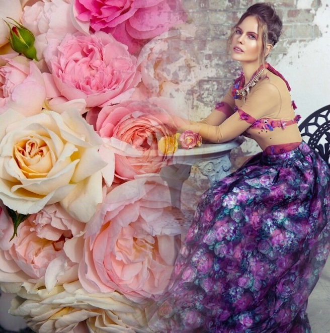 From a fashion shoot - in Jolita Jewellery's luxury Cairo statement necklace, hand-made with hand-dyed silk braid, dipped in gold crystals and hand-made silk flower. The image is blended with flowers - inspiration behind our jewellery colours.