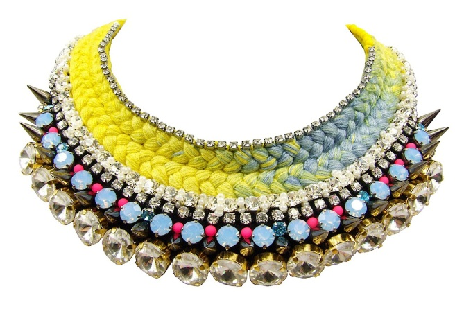 Vibrant Soho statement necklace by Jolita Jewellery, created with hand-dyed in our studio silk and embellished with an array of components: Swarovski crystals, spikes, neon bead and other crystals.