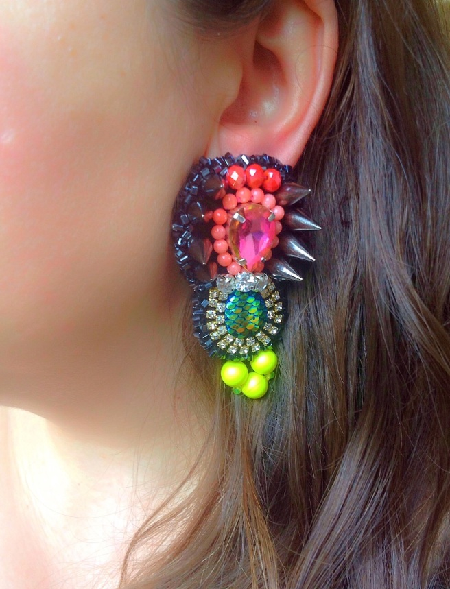 Colourful Techno statement earrings by Jolita Jewellery  handmade using couture technique. Created with neon Swarovski pearls, scale cabochons, beads, crystals and spikes.