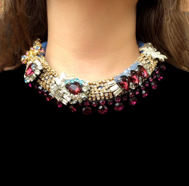 Luxury Belgravia statement necklace by Jolita Jewellery, created with hand-dyed silk, crystals and hand-made couture crystal embroidery.