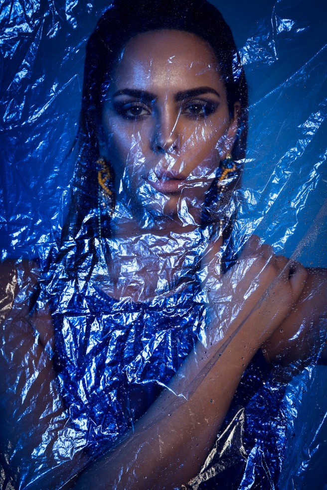 Thirst For Azure editorial for Ellements Magazine, June 2015 - in Jolita Jewellery's colourful Deconstructed crystal statement earrings