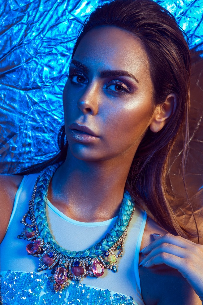 Thirst For Azure editorial for Ellements Magazine, June 2015 - in Jolita Jewellery's braided Salzburg statement necklace