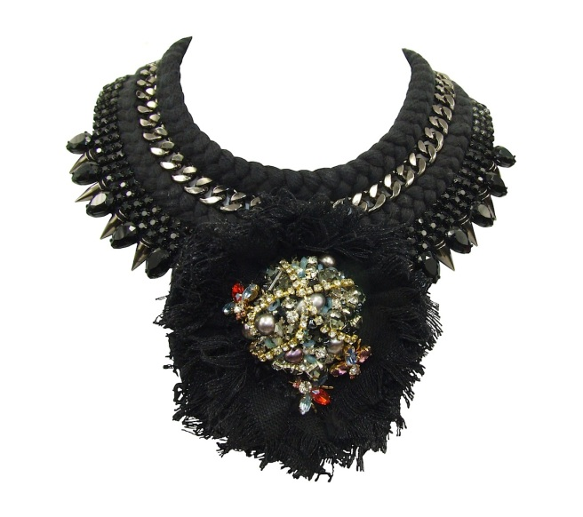 San Marino statement necklace by Jolita Jewellery, created with hand-dyed black silk braid, spikes chain and a flower, adorned with hand-made couture crystal embellishment