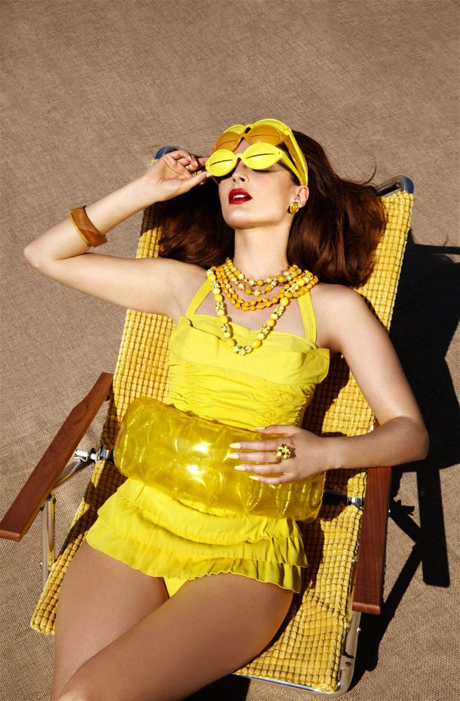 Summer Sun Tanning 60s Vintage Style for Marie Claire Russia by Jamie Nelson