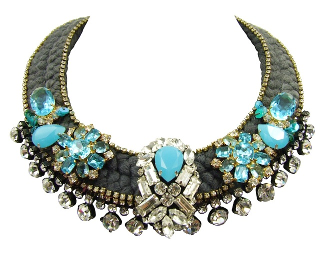 Cote d'Azur braided necklace by Jolita Jewellery, created with hand-made silk braid and couture embroidery