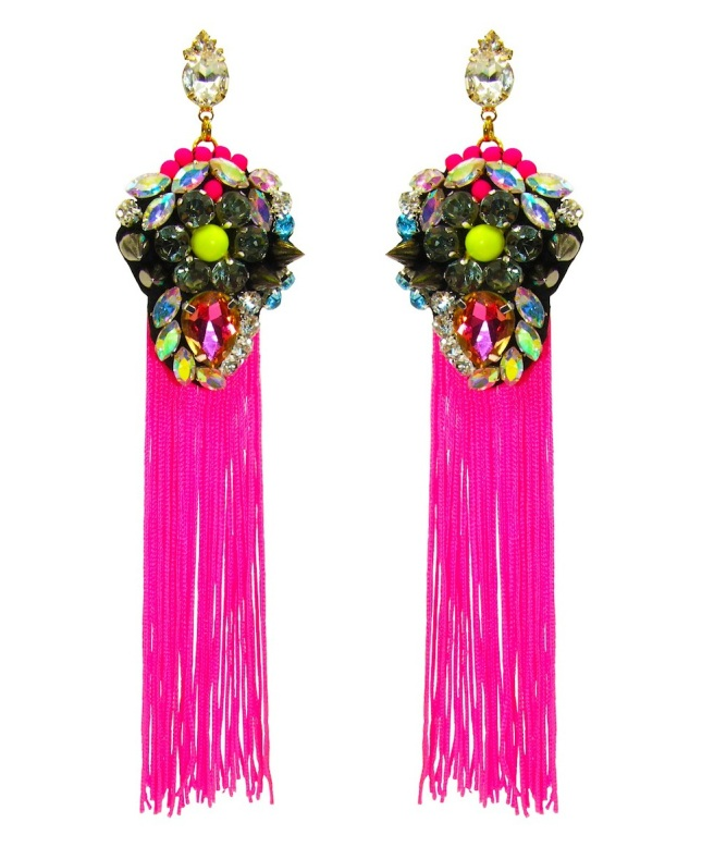 Vibrant El Dorado statement earrings by Jolita Jewellery, created with neon tassels and hand-made embroidery