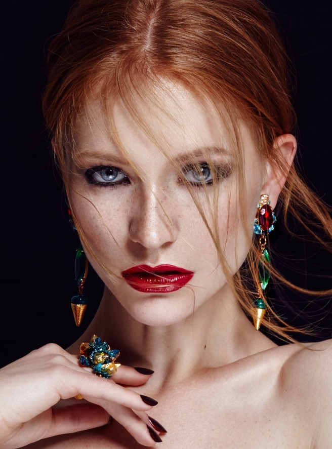 Green crystal Debutante statement earrings by Jolita Jewellery