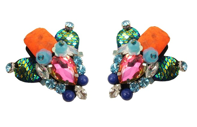 Colourful Bugmania statement earrings by Jolita Jewellery, created with colourful crystal put together using couture beading technique