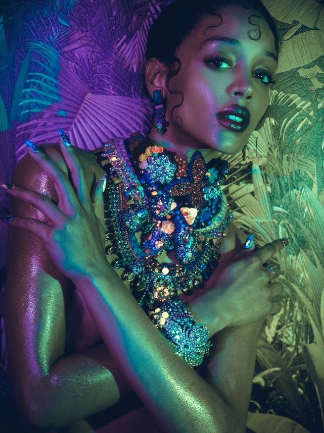 Tropical Fever editorial in statement pieces by Jolita Jewellery