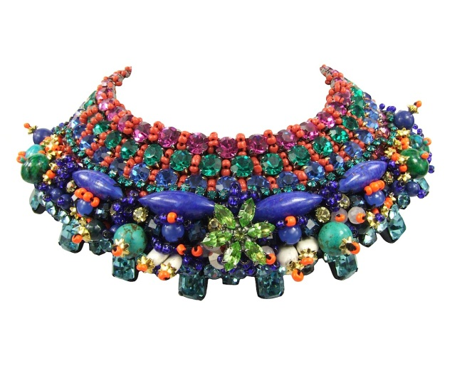 Luxury Ceremonial collar by Jolita Jewellery, heavily embellished with Swarovski crystals, semi-precious stones and beads. Handmade using couture technique.