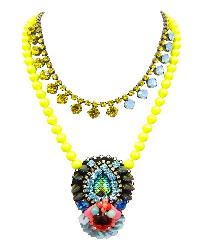 Rio necklace by Jolita Jewellery, created with Swarovski crystal, neon Swarovski pearls and hand-made couture embroidery
