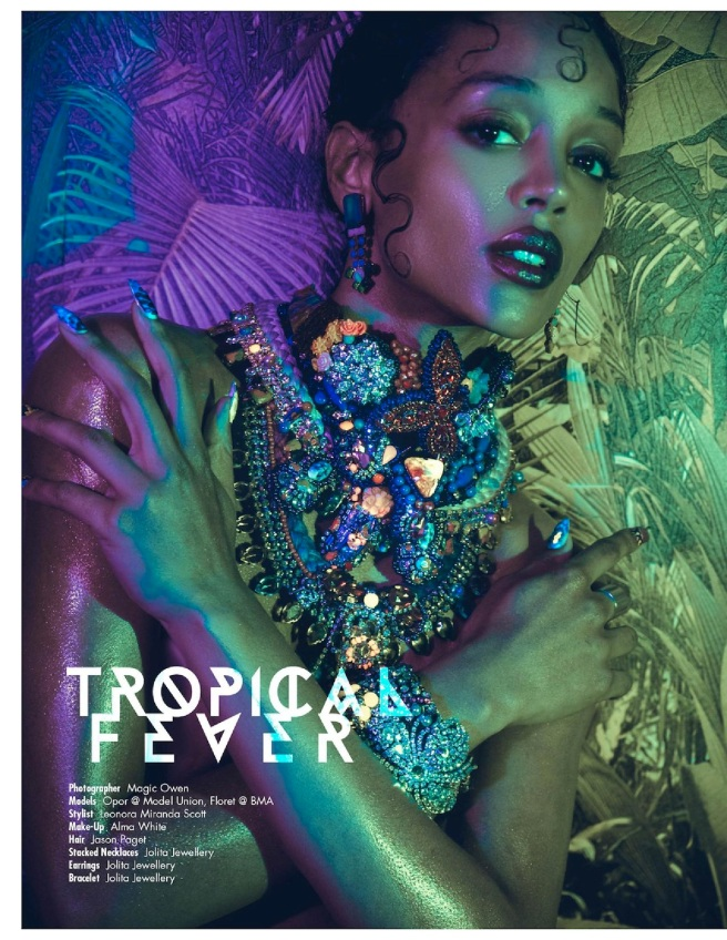 The Storm magazine December 2015, Issue 08 - Tropical Fever editorial featuring Jolita Jewellery statement jewels