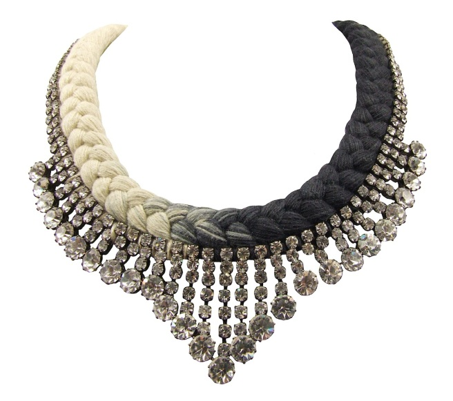 Monaco statement necklace made with dip-dyed charcoal and cream silk braid, embellished with clear crystals