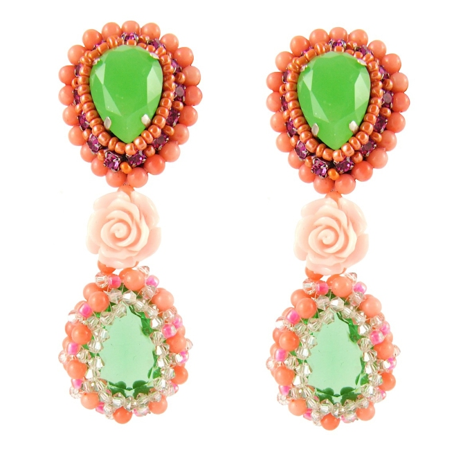 Calypso statement earrings by Jolita Jewellery, created with Swarovski crystals, hand-beaded sea bamboo and coral flowers.