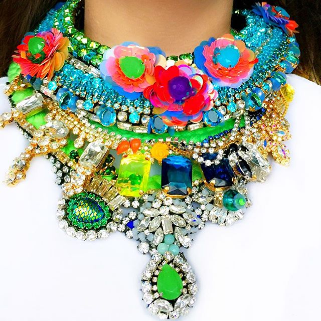 Colourful statement necklaces by Jolita Jewellery, hand-made with vibrant crystals and hand-dyed silk braid