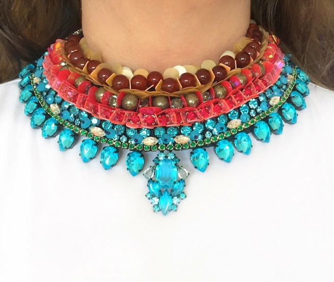 Bahia statement collar by Jolita Jewellery, created with colourful rhinestones, beads and sequins