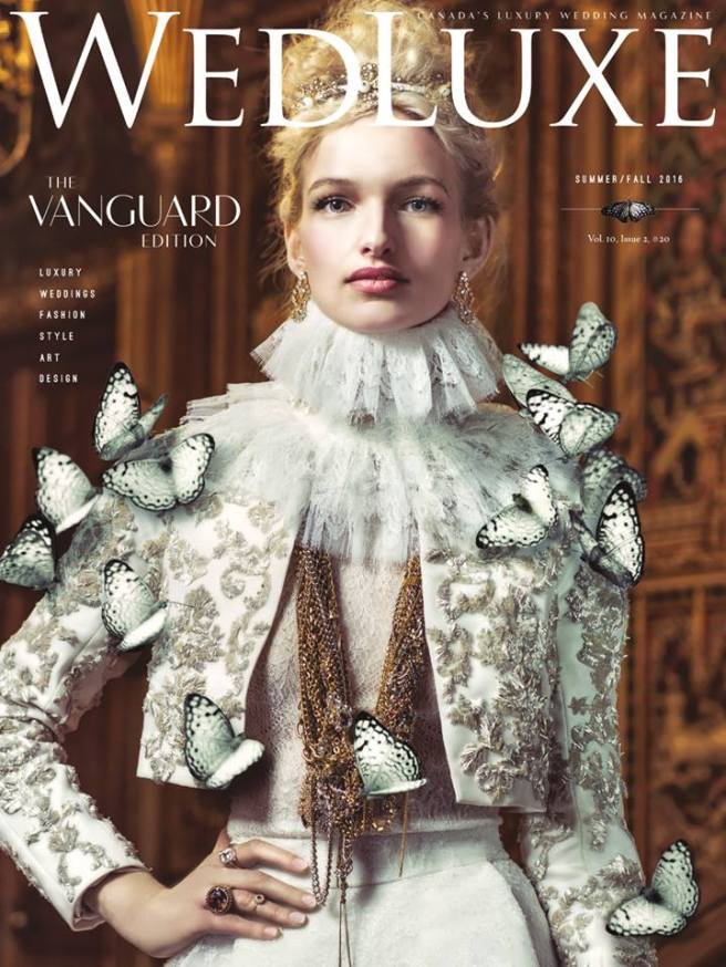Wedluxe magazine cover July 2016, featuring Jolita Jewellery's vintage chains and crystals necklace