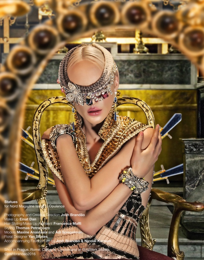 In braided Jeddah womens necklace and crystal cuffs all by Jolita Jewellery for Statues editorial