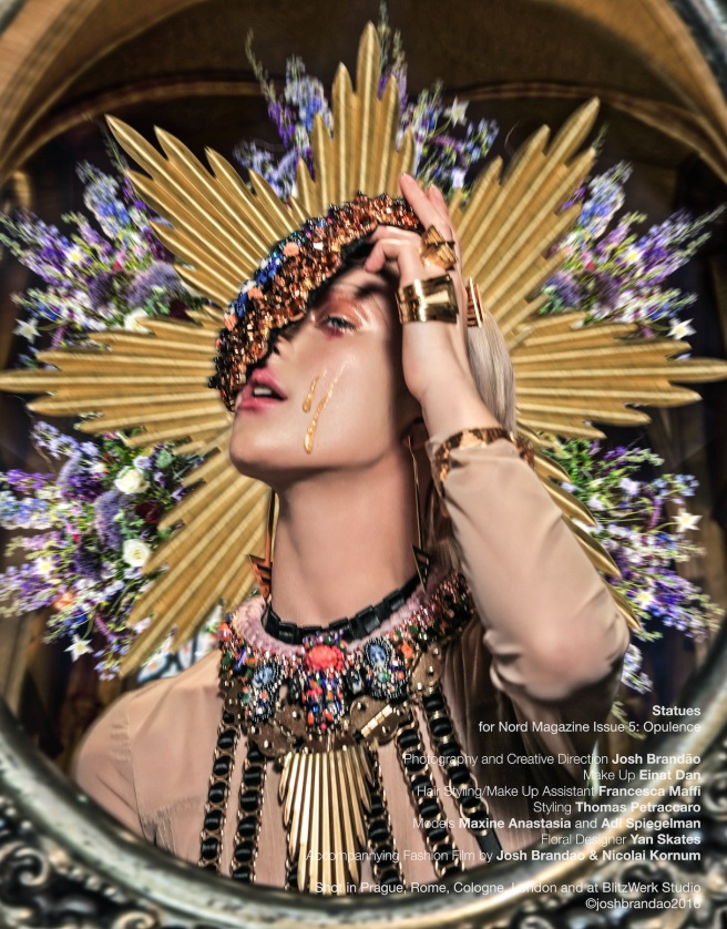 In braided Triptych womens necklace and Swarovski crystal collar styled as a headpiece bot by Jolita Jewellery for Statues editorial