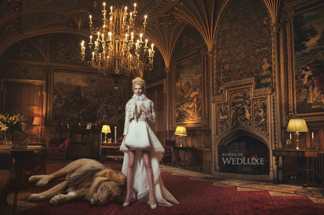 Wedluxe magazine editorial, featuring Jolita Jewellery's vintage chains and crystals necklace