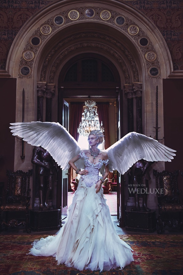 Wedluxe magazine editorial, featuring Jolita Jewellery's braided necklace and two crystal cuffs