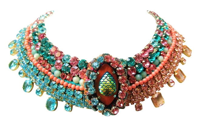 Luxury Riviera statement collar by Jolita Jewellery, hand-made using couture embroidery technique