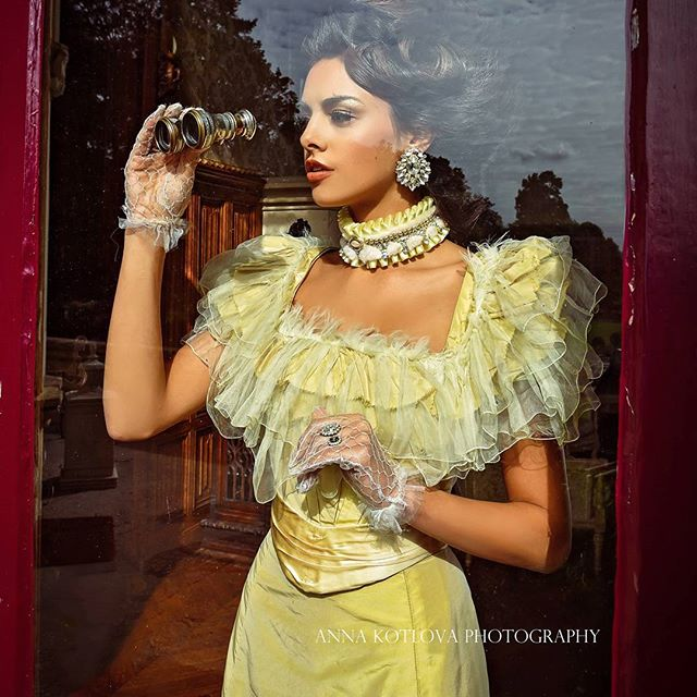 Lost In Time fashion editorial for Salyse magazine, featuring Casablanca crystal earrings by Jolita Jewellery