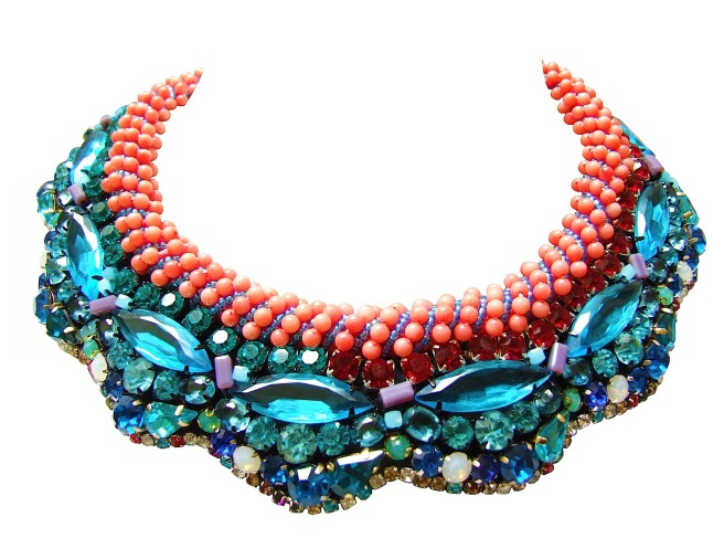 Luxury Savoy statement collar by Jolita Jewellery, hand-made using couture embroidery technique with Swarovski and other crystals and coral beads