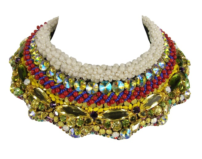 Luxury Savoy statement collar by Jolita Jewellery, hand-made using couture embroidery technique with Swarovski and other crystals, semi-precious stones and beads