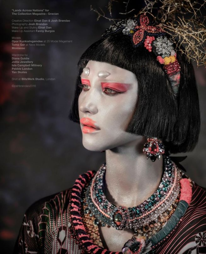 "From ""Lands Across Nations"" editorial published in Gracian Collection magazine - in luxury Swarovski statement collars, earrings and headband all by Jolita Jewellery"