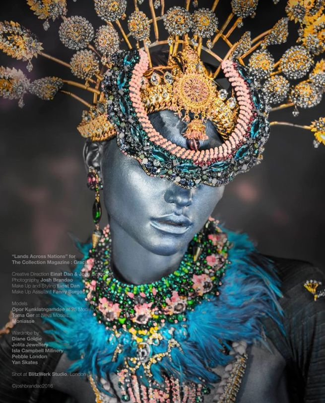 "From ""Lands Across Nations"" editorial published in Gracian Collection magazine - in a luxury Savoy Swarovski crystal collar styled as a head-piece, crystal earrings and Swarovski crystal and Blue Feather necklace all by Jolita Jewellery"