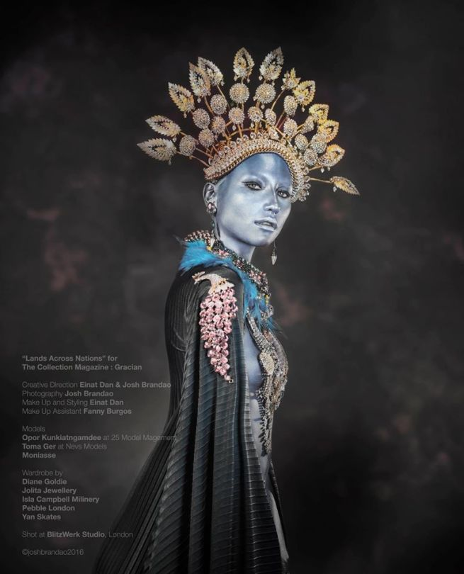 "From ""Lands Across Nations"" editorial published in Gracian Collection magazine - in a crystal and chain Seychelles Luxe collar styled as a head-piece, crystal earrings, braided Ipanema necklace and Swarovski crystal and Blue Feather necklace all by Jolita Jewellery"