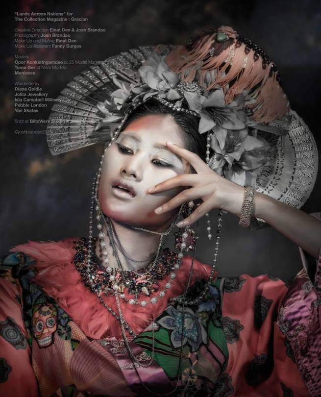 "From ""Lands Across Nations"" editorial published in Gracian Collection magazine - in luxury Swarovski and Red Feather collar, earrings and fringe necklace, styled as a headpiece, all by Jolita Jewellery"