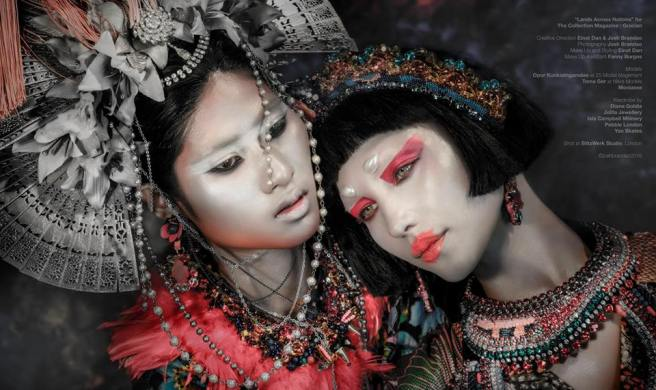 "From ""Lands Across Nations"" editorial published in Gracian Collection magazine - both models are wearing luxury Swarovski collars, earrings and a fringe necklace, styled as a headpiece, all by Jolita Jewellery"